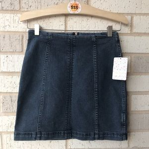 NWT Free People Modern Femme Mini Denim Skirt